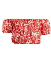 Lisa Marie Fernandez - Leandra Floral-embroidered Cotton Cropped Top - Lyst