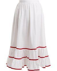 Stella Jean - Jupe taille haute en popeline de coton - Lyst