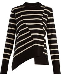 Proenza Schouler - Panelled Crew-neck Striped Wool-blend Jumper - Lyst