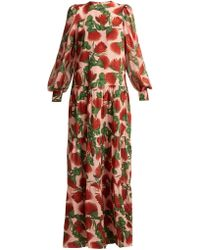 Adriana Degreas - Fiore Tiered Floral Print Silk Dress - Lyst