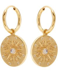 Theodora Warre - Moonstone Compass Gold-plated Earrings - Lyst