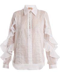 N°21 - Ruffle-panelled Cotton Shirt - Lyst