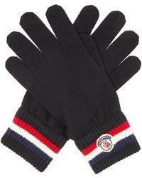 Moncler Gants en laine à appliqué logo et bord rayé - Noir