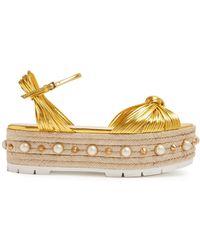 Gucci - Pearl-embellished Leather Platform Sandals - Lyst