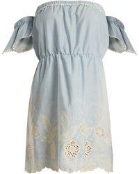 Athena Procopiou - Gypset Off The Shoulder Cotton Mini Dress - Lyst
