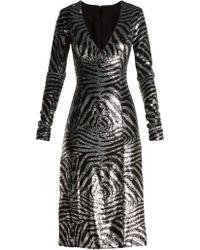 Halpern - Zebra Pattern Sequined Dress - Lyst