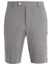 Moncler - Slim-leg Cotton-seersucker Shorts - Lyst