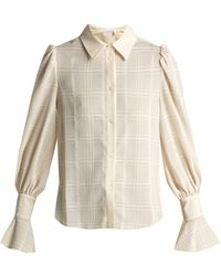See By Chloé - Checked Flared-cuff Shirt - Lyst