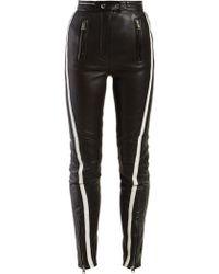 Alexander McQueen - Side Stripe Leather Trousers - Lyst