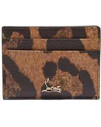 Christian Louboutin Kios Leopard Print Leather Cardholder - Brown