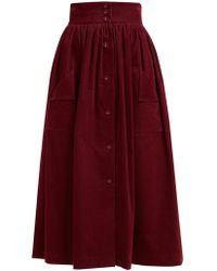 The Vampire's Wife - Visiting Button Front Cotton Corduroy Midi Skirt - Lyst
