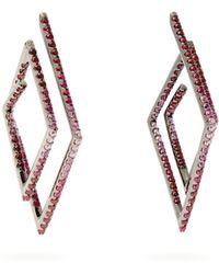 Lynn Ban - Pink Sapphire Pavé & Rhodium Plated Earrings - Lyst
