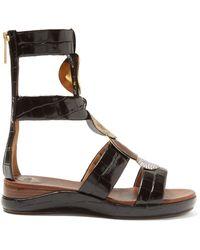 Chloé - Crocodile Effect Leather Gladiator Sandals - Lyst