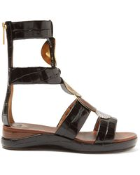Chloé - Crocodile Effect Leather Gladiator Sandals - Lyst