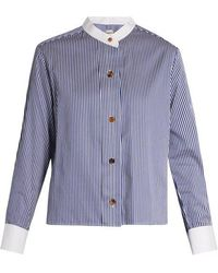 Khaite - Paloma Striped Collarless Box-cut Shirt - Lyst