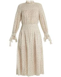 Rebecca Taylor - Smocked Star Print Silk And Cotton Blend Dress - Lyst