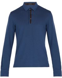 Ermenegildo Zegna - Suede-trimmed Long-sleeve Polo Shirt - Lyst