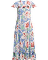 Valentino - Hibiscus Print Ruffle Trimmed Crepe Midi Dress - Lyst