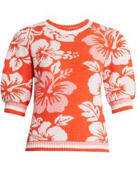 MSGM - Hawaiian-print Terry-towelling Sweatshirt - Lyst