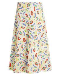 Duro Olowu - Abstract Bird-print Cloqué Midi Skirt - Lyst