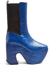 Marques'Almeida - Crocodile-effect Leather Platform Boots - Lyst
