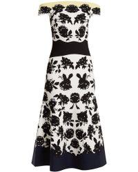 Alexander McQueen - Off-the-shoulder Rose-intarsia Dress - Lyst