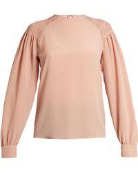 Valentino - Smocked-shoulder Silk Crepe De Chine Top - Lyst
