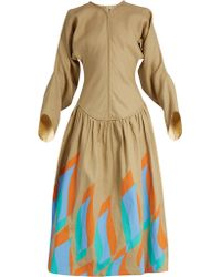 JW Anderson - Swoosh Print Dropped Waist Linen Dress - Lyst
