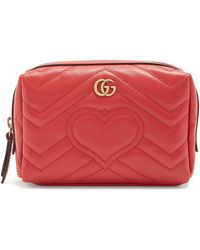 Gucci - Gg Marmont Quilted-leather Make-up Bag - Lyst