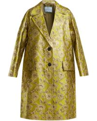 Prada - Notch Lapel Floral Brocade Coat - Lyst