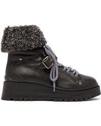 Miu Miu - Fleece Cuff Leather Ankle Boots - Lyst