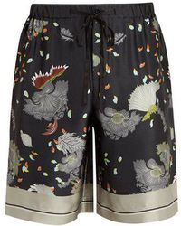 Meng - Floral-print Silk-satin Pyjama Shorts - Lyst