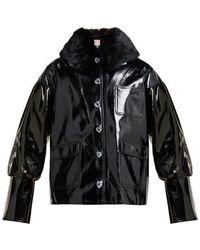 Shrimps - Liam Faux Fur Collar Pvc Bomber Jacket - Lyst