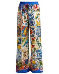 Dolce & Gabbana - - Majolica And Floral Print Silk Twill Trousers - Womens - Blue Multi - Lyst