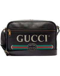 Gucci - Logo-print Leather Messenger Bag - Lyst