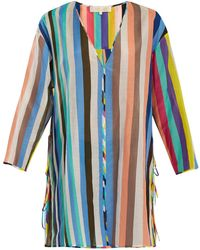 Diane von Furstenberg | V-neck Striped Cotton-blend Dress | Lyst