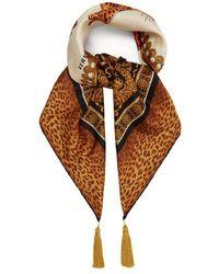 Versace - Tasselled Leopard-print Silk-twill Scarf - Lyst