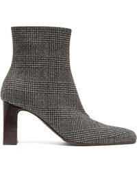 Balenciaga - Prince Of Wales Checked Twill Ankle Boots - Lyst