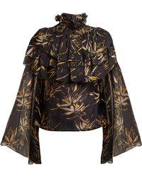 Rodarte | Palm-print Silk-chiffon Blouse | Lyst