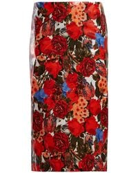 Marni - Floral Print Waxed Poplin Pencil Skirt - Lyst