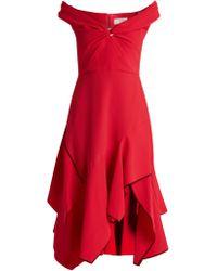 Peter Pilotto - Off The Shoulder Handkerchief Hem Cady Dress - Lyst