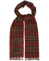 Gucci - Shark Embroidered Checked Scarf - Lyst