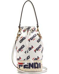 Fendi - Mania Mon Tresor Logo Leather Bucket Bag - Lyst