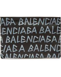 Balenciaga - Graffiti Leather Clutch - Lyst