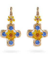 Dolce & Gabbana - Flower And Crystal-embellished Cross Earrings - Lyst