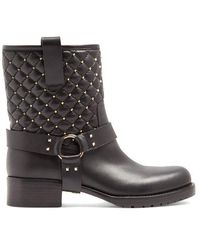 Valentino - Rockstud Spike Quilted-leather Biker Boots - Lyst
