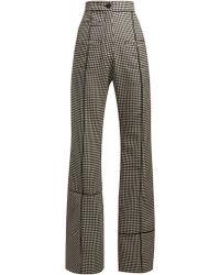 Loewe - Flared Houndstooth Wool Trousers - Lyst