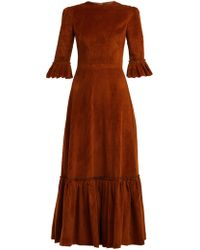 The Vampire's Wife - Festival Ruffle Trimmed Cotton Corduroy Maxi Dress - Lyst