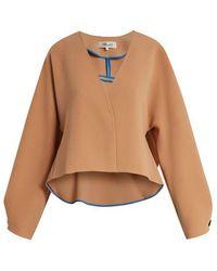 Diane von Furstenberg - V-neck Peplum-back Cropped Cady Jacket - Lyst