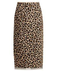 N°21 - Leopard-print Cotton-canvas Pencil Skirt - Lyst
